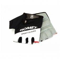 Перчатки для велосипеда ROMET черно белые с белым лого M