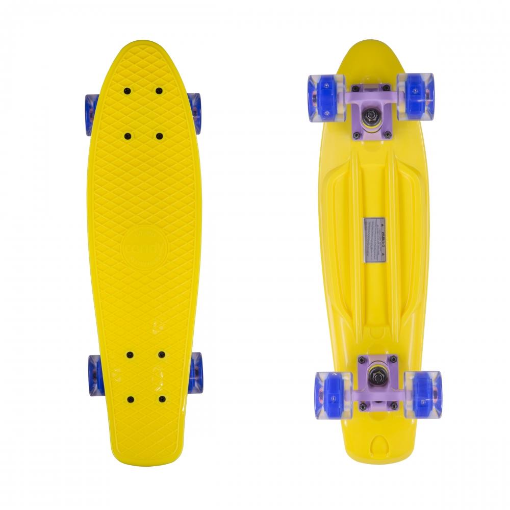 """Круизер скейт Candy Yel + Shine Wheels 22 """" (светятся колеса)"""