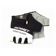 Перчатки для велосипеда ROMET черно белые (зеленый шов) L