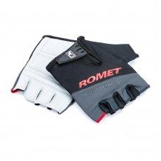 Перчатки для велосипеда ROMET черно серые с красным логотипом L